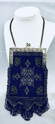 RARE Antique Micro-bead STERLING SILVER Victorian Bag Fringed Silk Cobalt Blue