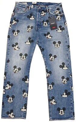 New Disney X Levi's 501 Original Fit Mickey Mouse Jeans Size 32-34 Inseam 30-34