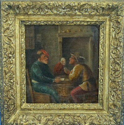 Antique OIL PAINTING on Wood CARD PLAYERS Adriaen Brower Early 1600 Gilded Frame