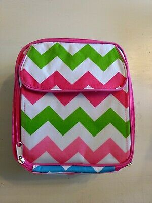 Lolly Wolly Doodle Chevron Pink Blue Green Lunch Box #JB03