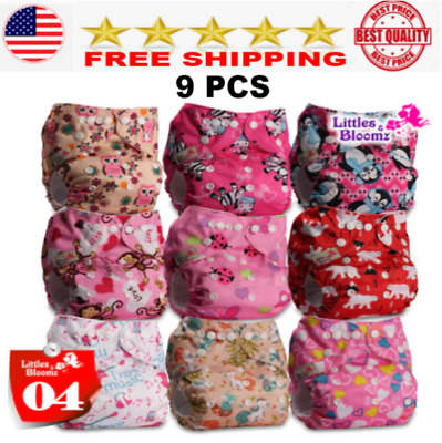 9 pcs for Baby Washable Reusable Cloth Pocket Nappy Diaper Cover Wrap Diapers