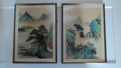 Vintage Pair of Framed Oriental  Pictures Painted On Silk/ Framed 1973 Both Mint