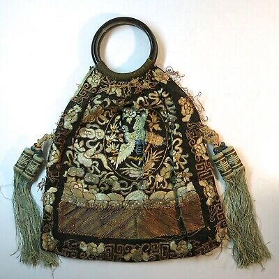 Vintage Antique Chinese Embroidered Rank Badge Purse Bag Handbag