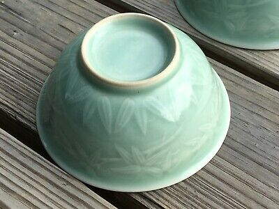 rare pair antique Chinese Song dynasty Longquan celadon bowl cups carved