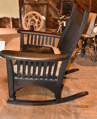 Primitive Antique Mission Wood Rocker Rocking Chair Vintage Furniture