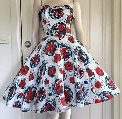 Cute 50s 60s Strapless Cotton Party Dress / Full Skirt