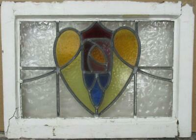 "OLD ENGLISH LEADED STAINED GLASS WINDOW Nice Abstract Floral Heart 21.5"" x 15.5"""