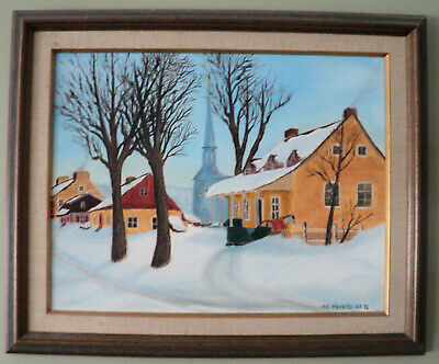 """RURAL QUEBEC WINTER""- Custom Framed - Original Oil Painting"