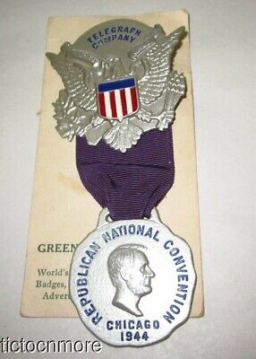 VINTAGE 1944 CHICAGO REPUBLICAN NATIONAL CONVENTION TELEGRAPH Co RIBBON PIN