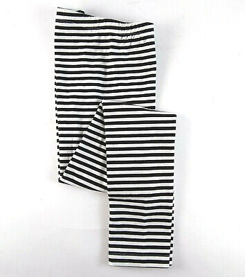 Cat Jack Black White Striped Leggings Girls Size Large (10/12) New Without Tags