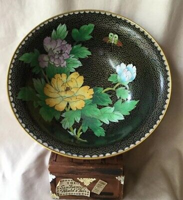 """Vintage Chinese Cloisonné 7"""" Bowl Floral Peony Butterfly Brass Wire Blossom"""