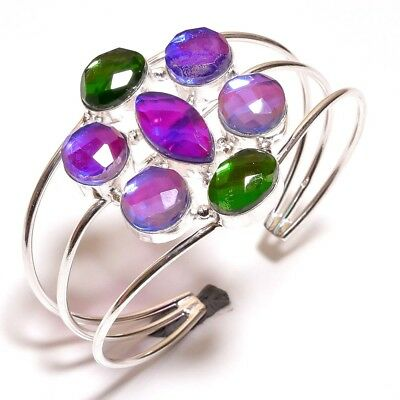 Faceted Mystic Topaz Quart .925 Silver Bangle Cuff Wonderful Jewelry R1003-R1090