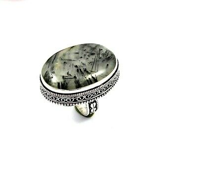 Fabulous Black Needle Rutile Silver Carving Jewelry Ring Size 8.75 JT2344