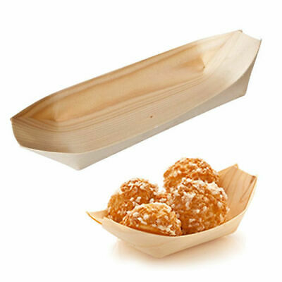 50x Disposable Oval Boat Biowood 115x65mm Catering / Functions / Parties