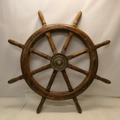 Vintage Large Ship's Wheel 90cm Wooden Japanese Nautical Maritime #92