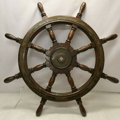 Vintage Large Ship's Wheel 90cm Wooden Japanese Nautical Maritime #93
