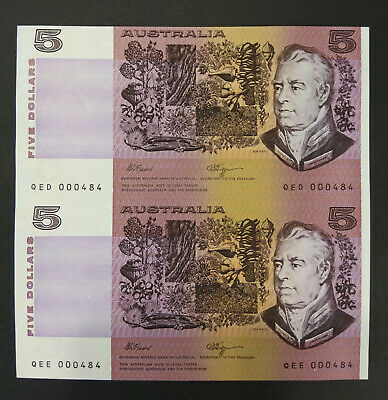 Pair Uncut $5 Consecutive Notes Fraser Higgins Qed 000484 Qee 000484