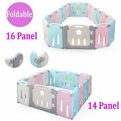 Folding Baby Playpen 14/16 Panel Safety Play Center Yard Home Indoor Outdoor Pen