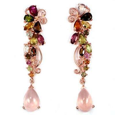 Natural Aaa Rose Quartz & Multi Color Tourmaline Sterling 925 Silver Earring