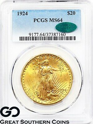 1924 PCGS MS-64 Double Eagle, $20 Gold St Gaudens ** CAC, Premium Quality!