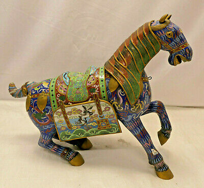 Antique Decorative CLOISONNE HORSE Statue Enamel Chinese Animal  #92