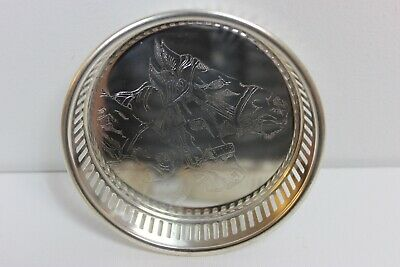 """Silver Plated Glass or Bottle Coasters Horse Etching Set of 4 Cut Out Edging 4"""""""