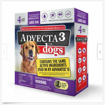Advecta 3 For Large dog 21 - 55lbs  - Flea & Tick Topical Treatment - 4 Count