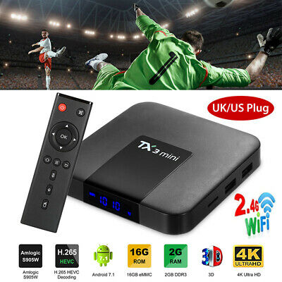 Android 7.1 TV Box WiFi Smart Streaming Media Player 2GB / 16GB UHD 4K H.265 US