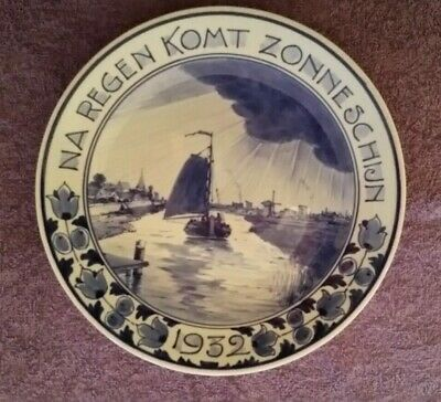 "Delft Dutch Porcelain Wall Plate (1932) ""After Rain Comes Sunshine"""