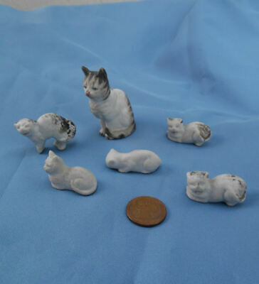 ANTIQUE GERMAN BISQUE PORCELAIN MOTHER CAT AND 5 KITTENS c.1901-1910