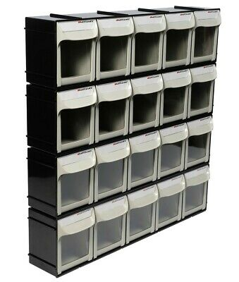 Motamec Modular Tilt Bin Parts Storage Wall Compartment 4 LARGE Units / 20 Bins