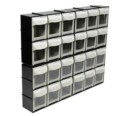 Motamec Modular Tilt Bin Parts Storage Wall Compartment 4 MEDIUM Units / 24 Bins