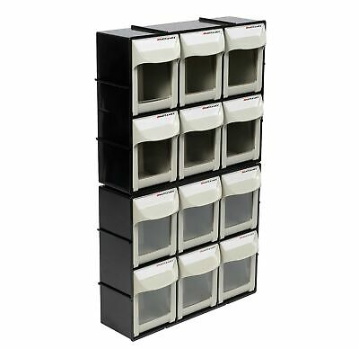 Motamec Modular Tilt Bin Parts Storage Wall Compartment 2 MEDIUM Units / 12 Bins