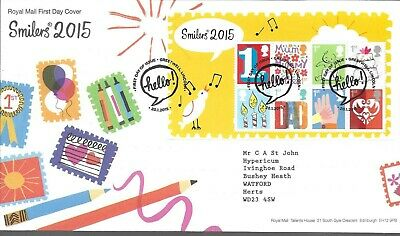 GB FDC 2015 Smilers (6), combined postage, reduced
