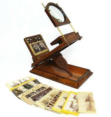 Victorian tabletop stereo graphoscope in burr walnut, Rowsells Patent