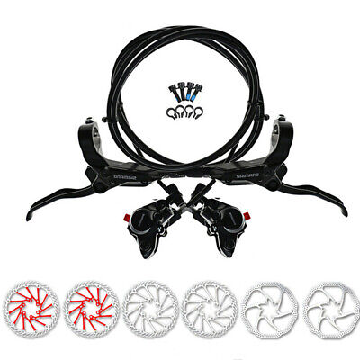 Shimano M365 Hydraulic Disc Brakes Set Front & Rear Pre-Filled With 2pc Rotors