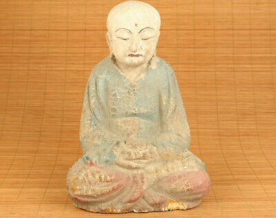 chinese old wood hand carved seat buddha monk head statue figure blessing