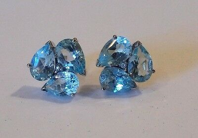 Natural Blue Topaz Gem Stone 925 Sterling Silver Men's Cufflink Jewelry
