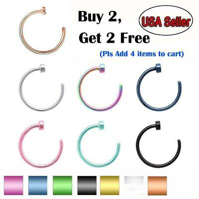 5pcs Nose Ring Surgical Steel Fake Nose Rings Hoop Lip Nose Rings Thin Piercing
