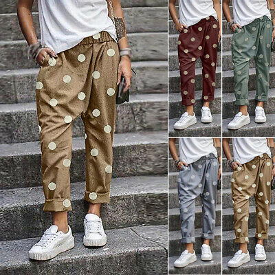 Mens Pants Trousers Casual Fashion Polka Dots Bottoms Trousers Joggers