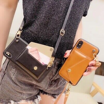 Leather Change Wallet Case with Crossbody Strap Cover iPhone X XR MAX 6 7 8