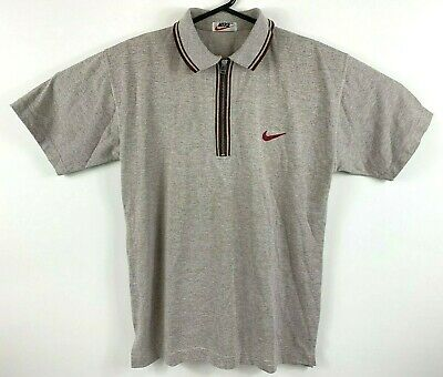 Vintage 1990's Nike Tennis Polo Shirt Light Brown Front Zip Retro Red Swoosh