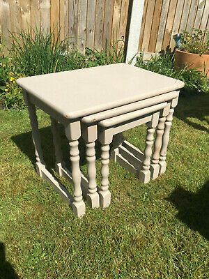 Shabby chic grey chalk painted wooden nest of 3 small occasional tables