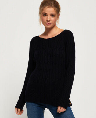 New Womens Superdry Hester Cable Knit Jumper Marina Navy
