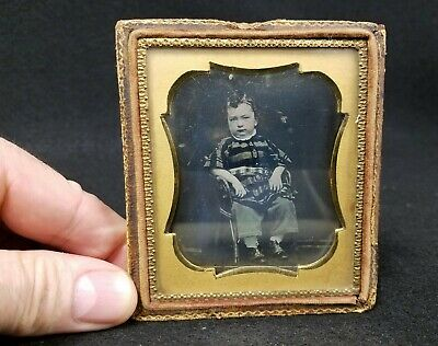 Antique  Sixth Plate Daguerreotype of Cool Young Boy in Chair with Striped Shirt