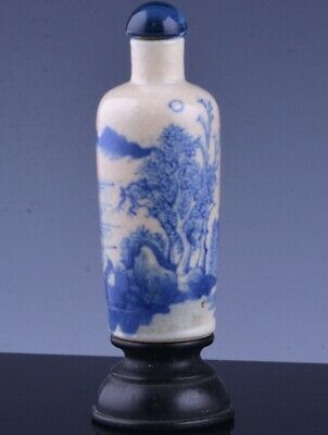 FINE 19THC CHINESE BLUE WHITE CRACKLE GLAZE SNUFF BOTTLE w STAND YONGZHENG MARKS