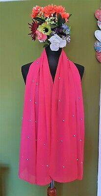 """Cerise Pink Glitter and Pearl Sheer Georgette Scarf Wrap 21x65"""" / 53x165cm"""