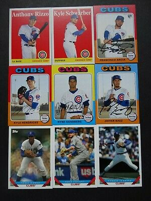 Pre-Sell 2019 Topps Archives Chicago Cubs Base Team Set of 9 Baseball Cards