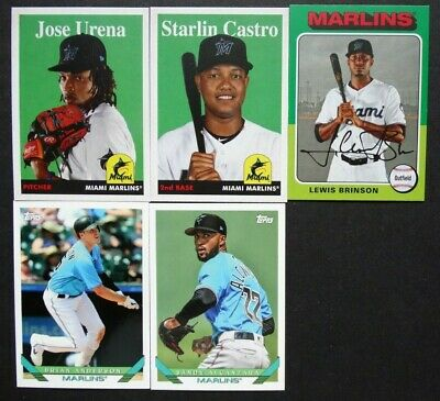 Pre-Sell 2019 Topps Archives Miami Marlins Base Team Set of 5 Baseball Cards