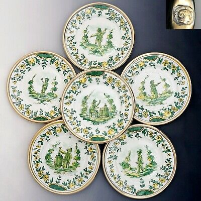 6 Antique French Limoges Hand Painted Porcelain Plates Set Sterling Silver Rims
